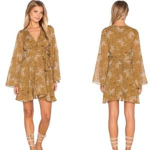FREE PEOPLE Lilou Floral Bell Sleeve Wrap Dress S